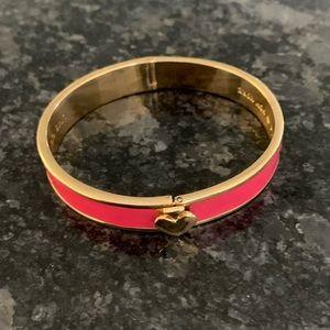 Kate Spade Pink Enamel Spade Hinge Bracelet